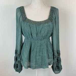 Free People Teal Lace Peasant Distressed Blouse S